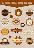 Vintage coffee badges — Stock Vector