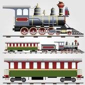 Retro steam train with coach — Vector de stock