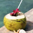 Coconut drink and sea — Stock Photo