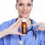 médico y jarabe — Foto de Stock