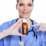 médico e xarope — Foto Stock