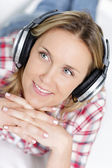Music in headphone — Stock Photo
