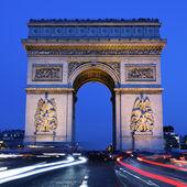 Arc de Triomphe by night square — Stock Photo