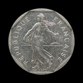 Vintage French coin — Stock Photo