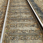 Railway railroad tracks — Stockfoto