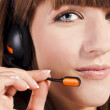 Portrait of a beautiful female, call centre employee — Stock Photo #10074705