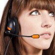 Portrait of a beautiful female, call centre employee - Stock Photo