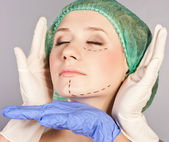 Lines on an attractive Caucasian lady face — Stock Photo