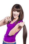 Mujer perder pelo — Foto de Stock