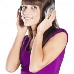 Pretty woman listening, and enjoying music — Stock Photo #10244471