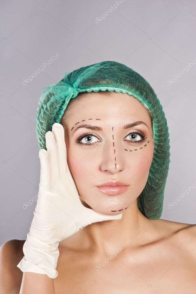Face before plastic surgery operation — Stock Photo #10332059