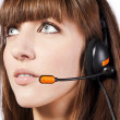 Portrait of beautiful, call centre employee — Stock Photo