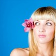 Young pretty girl with flower in hair portrait — Stock Photo #9070506