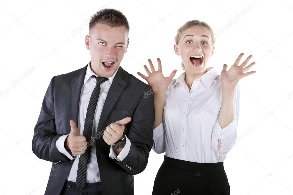 Young happy business. Thumbs Up, on a white background — Stock Photo #9076333