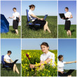 Business collage young successful woman — Stock Photo #9110048