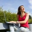 Positive young girl with laptop — Stock Photo