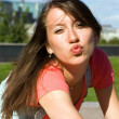Young girl lets kiss — Stock Photo