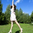 Beautiful Jumping Girl — Stock Photo