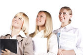 Group of three confident businesswoman smiling — Stock Photo