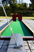 放在一个迷你高尔夫休闲设施. — 图库照片