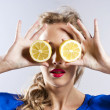 Stock Photo: Beautiful blond with lemon