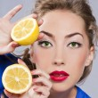 Beautiful blond with lemon — Stock Photo