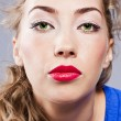 Portrait of young beautiful blond girl with stylish make-up — Stock Photo