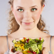 Happy healthy woman with salad — Stock Photo #9820462