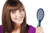 长的平直的女性头发健康 — 图库照片