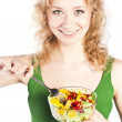 Healthy lovely woman, with salad — Stock Photo
