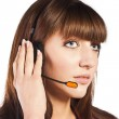 Portrait of a beautiful female, call centre employee — Stock Photo #9958667