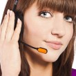 Portrait of a beautiful female, call centre employee — Stock Photo