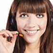 Portrait of a beautiful female, call centre employee — Stock Photo #9958716
