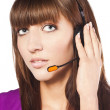 Portrait of a beautiful female, call centre employee — Stock Photo #9990278