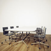 Minimal modern interior office table and chairs — Stock Photo