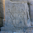 Hieroglyphics on throne of Ramses II Statue — Stock Photo