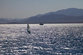 Silhouette of a windsurfer — Stock Photo