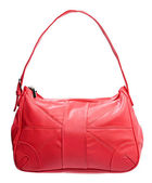 Red leather women bag isolated over white — Stock Photo