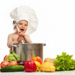 Little boy in chef's hat — Stock Photo