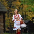 Stock Photo: Beautiful young woman in Ukrainian costume