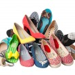 Pile of various female summer shoes, with clipping path — Stock Photo
