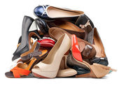 Pile of various female shoes, with clipping path — Stock Photo