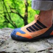 Rock climber's foot in climbing shoe — Stock Photo