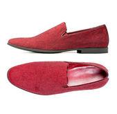 Paio di scarpe da uomo rosso isolato sopra bianco — Foto Stock