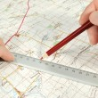 Determination of course on touristic map — Stockfoto #9199800