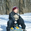 The boy with sled — Stock Photo