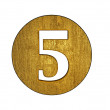 Stock Photo: 3d golden five number