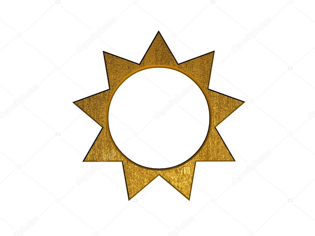 3d golden sun symbol — Stock Photo #8890034