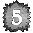 Foto Stock: 3d metal five number
