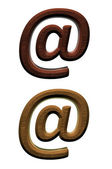 Wooden 3d at email symbol Computer generated 3D photo rendering. — Stock Photo